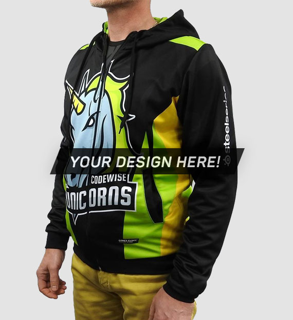 100% personalized, fully printed Zip Hoodie from Jersey Clinic
